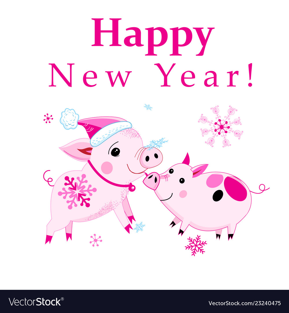Christmas card with pink piglets on a white