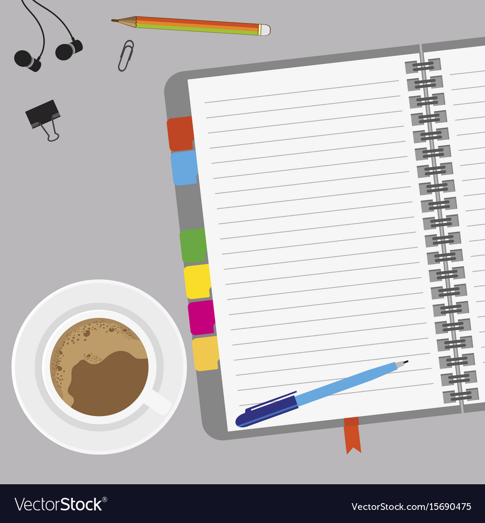 Empty paper with coffee and notes on desk vector image