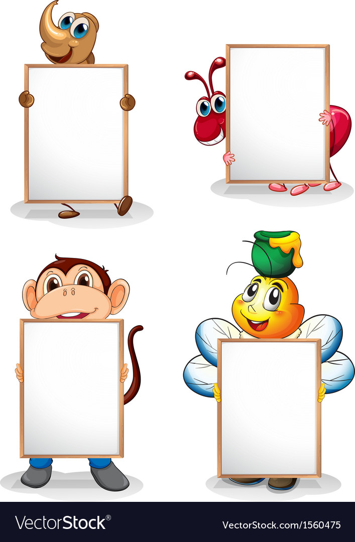 Four whiteboards in front of the four animals
