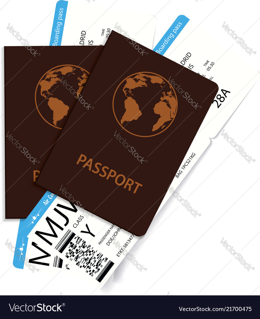 International passports and boarding pass tickets