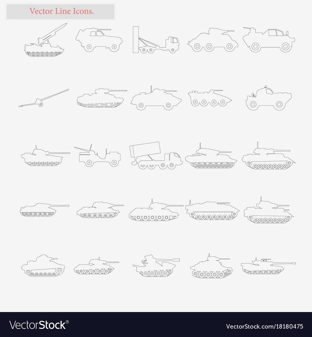 Panzer set style line icons on white