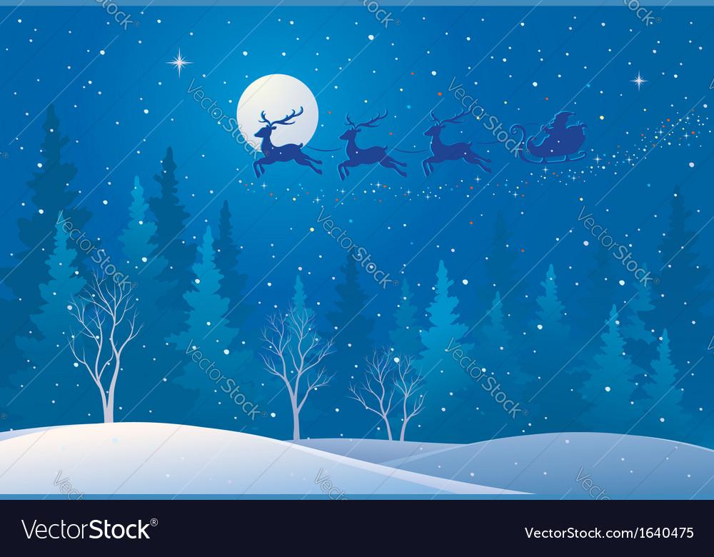 Santa sleigh above forest