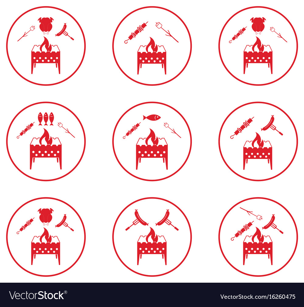 Set of braziercooking icons