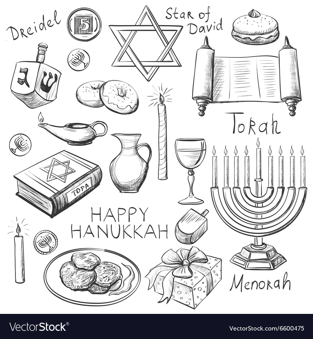 Set of Happy Hanukkah designed elements