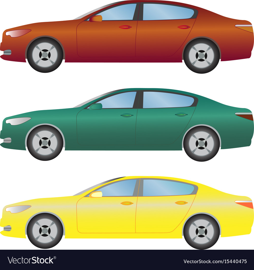 Set Type Sedan Cars Different Colors Royalty Free Vector