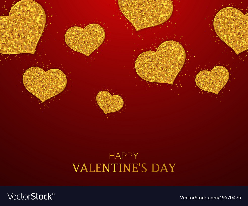 1e896db8f490 Valentines day background gold glitter hearts Vector Image