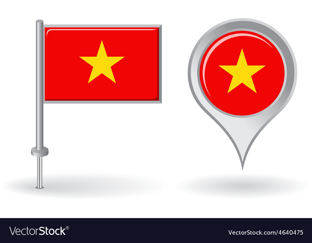 Vietnamese pin icon and map pointer flag