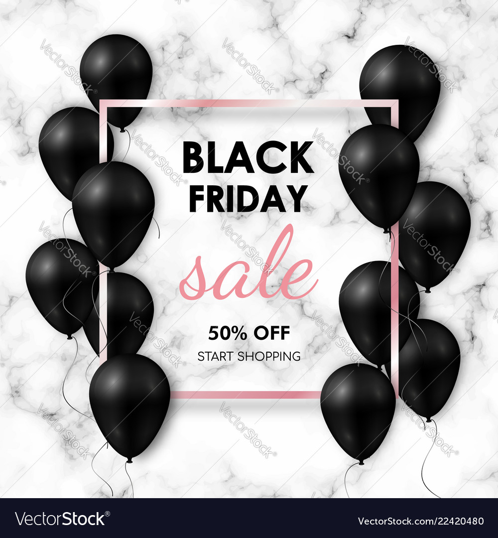 Black friday sale banner shiny black balloons on