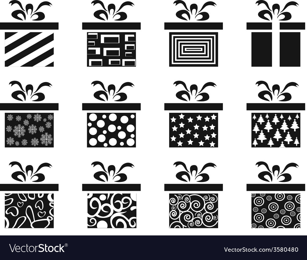 Black gift box icon set vector image