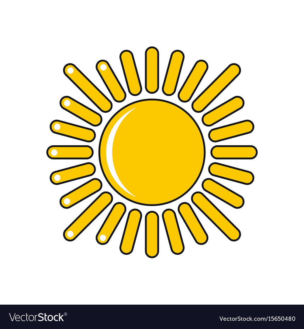 Cartoon sun icon isolated on white background