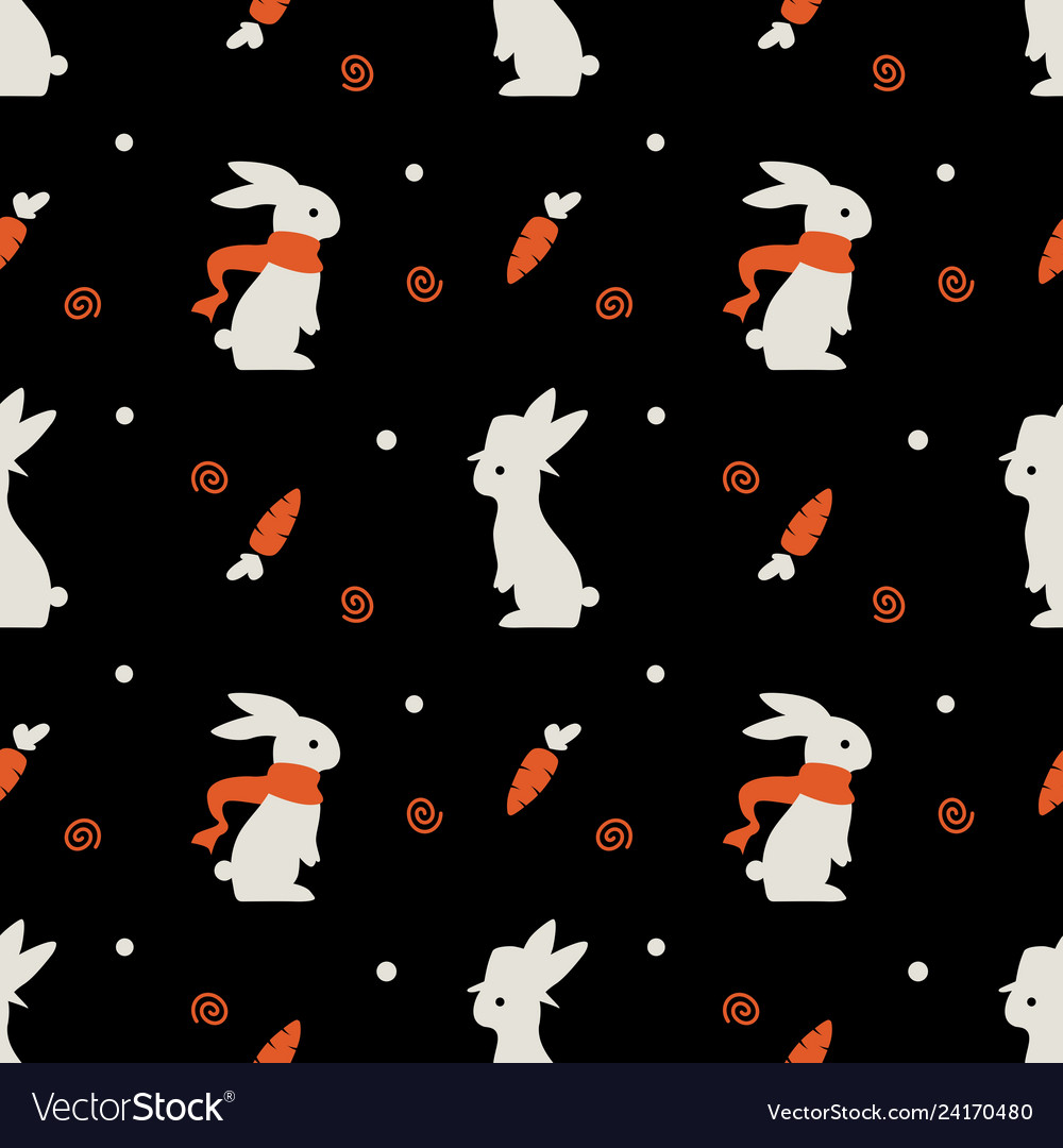 Cute rabbit bunny seamless pattern with carrot on