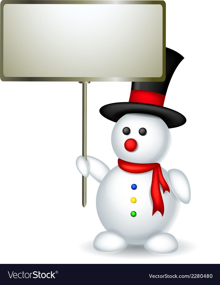 Cute snowman cartoon holding blank board