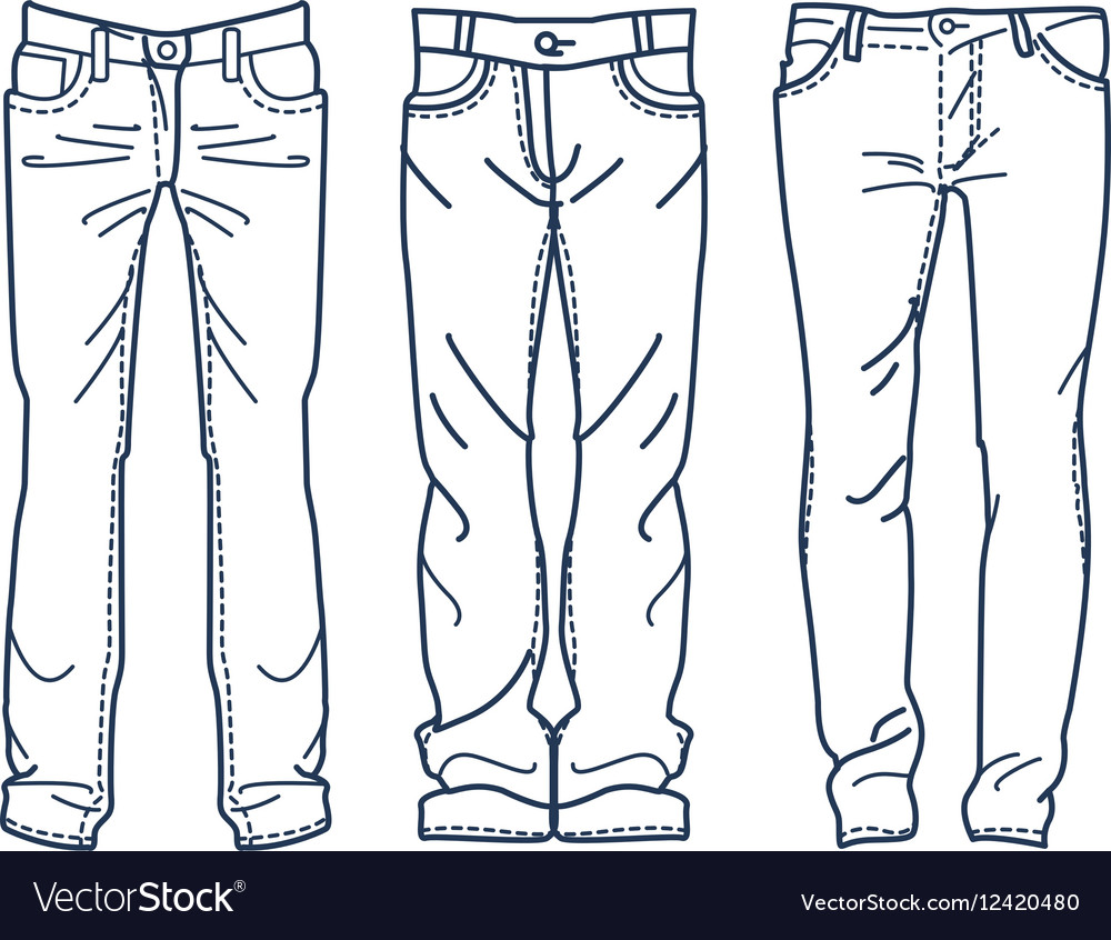 Drawing blue jeans outline jean mens jean vector