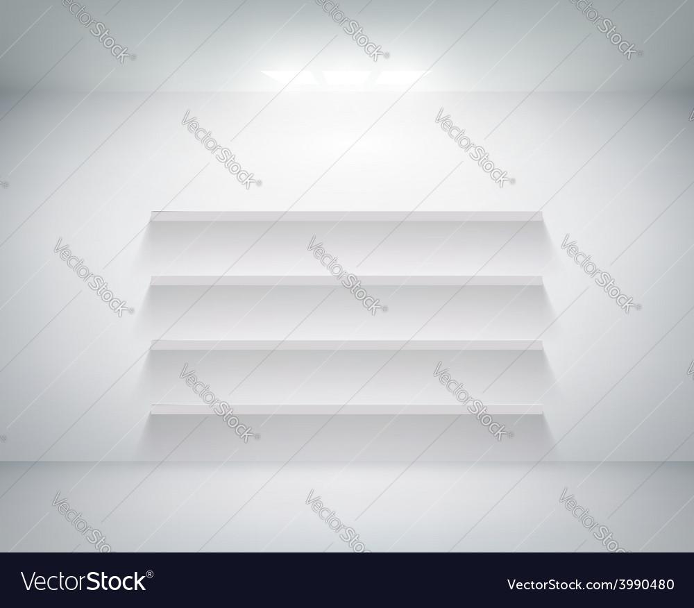 Empty shelf on white wall