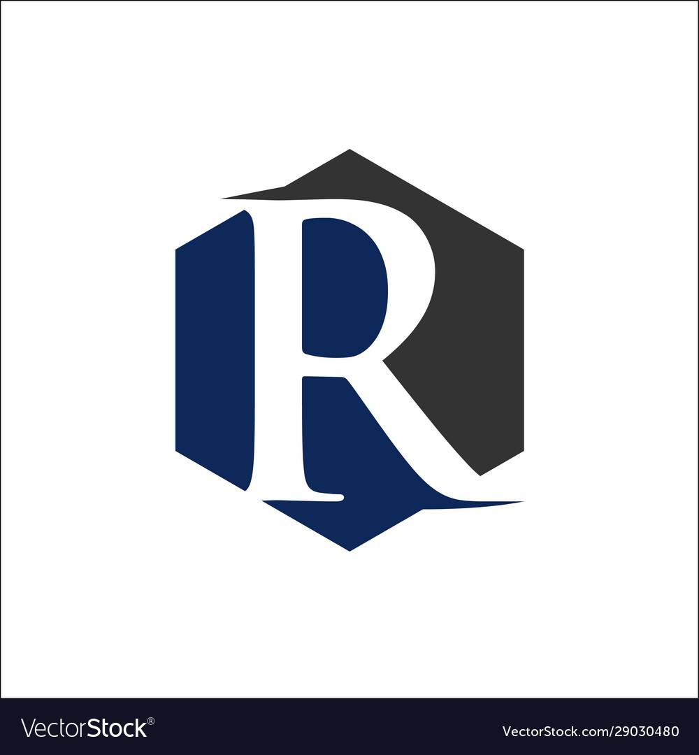 Initial r hexagon shape logo
