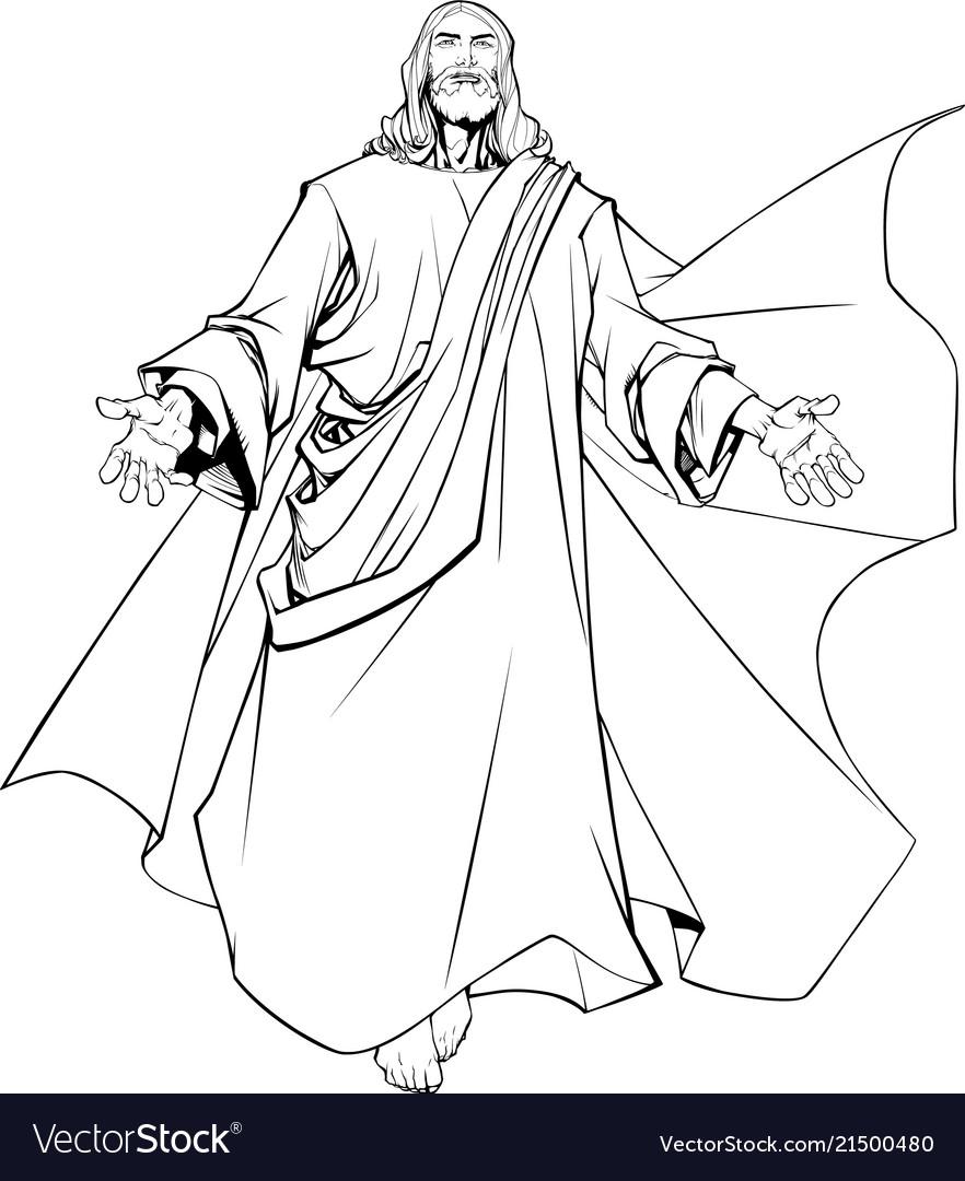 Jesus open arms line art