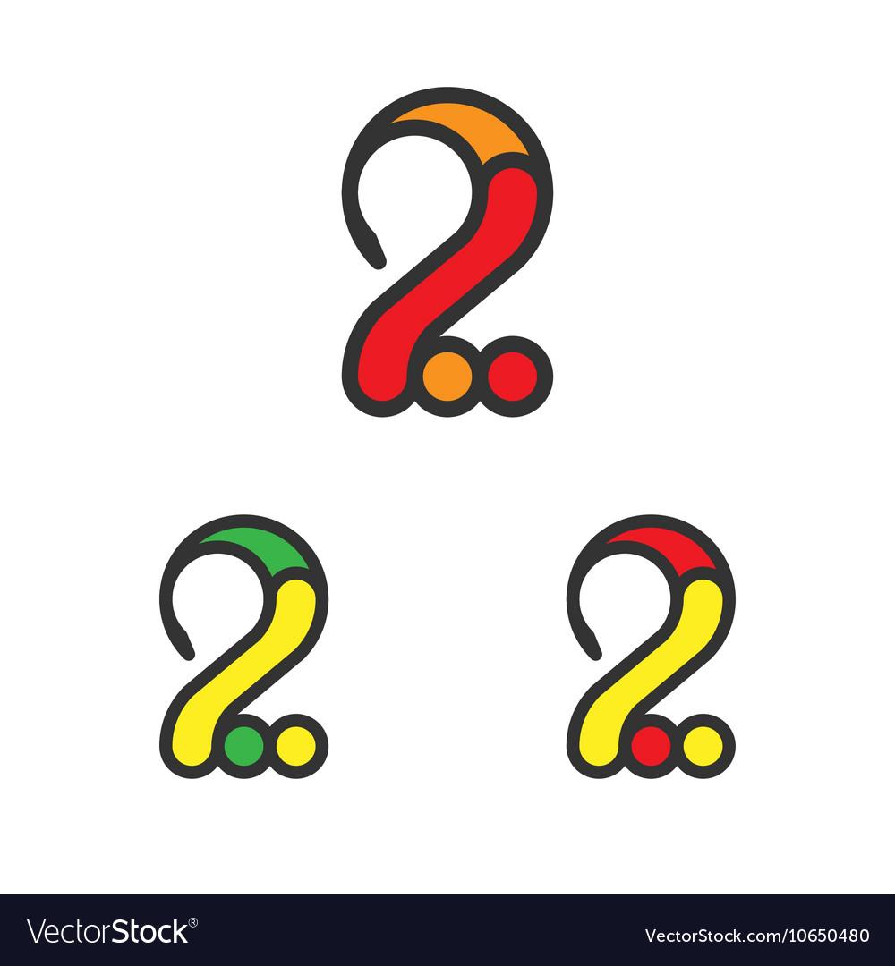 Logo Template Set Digit Two Logotype Variants