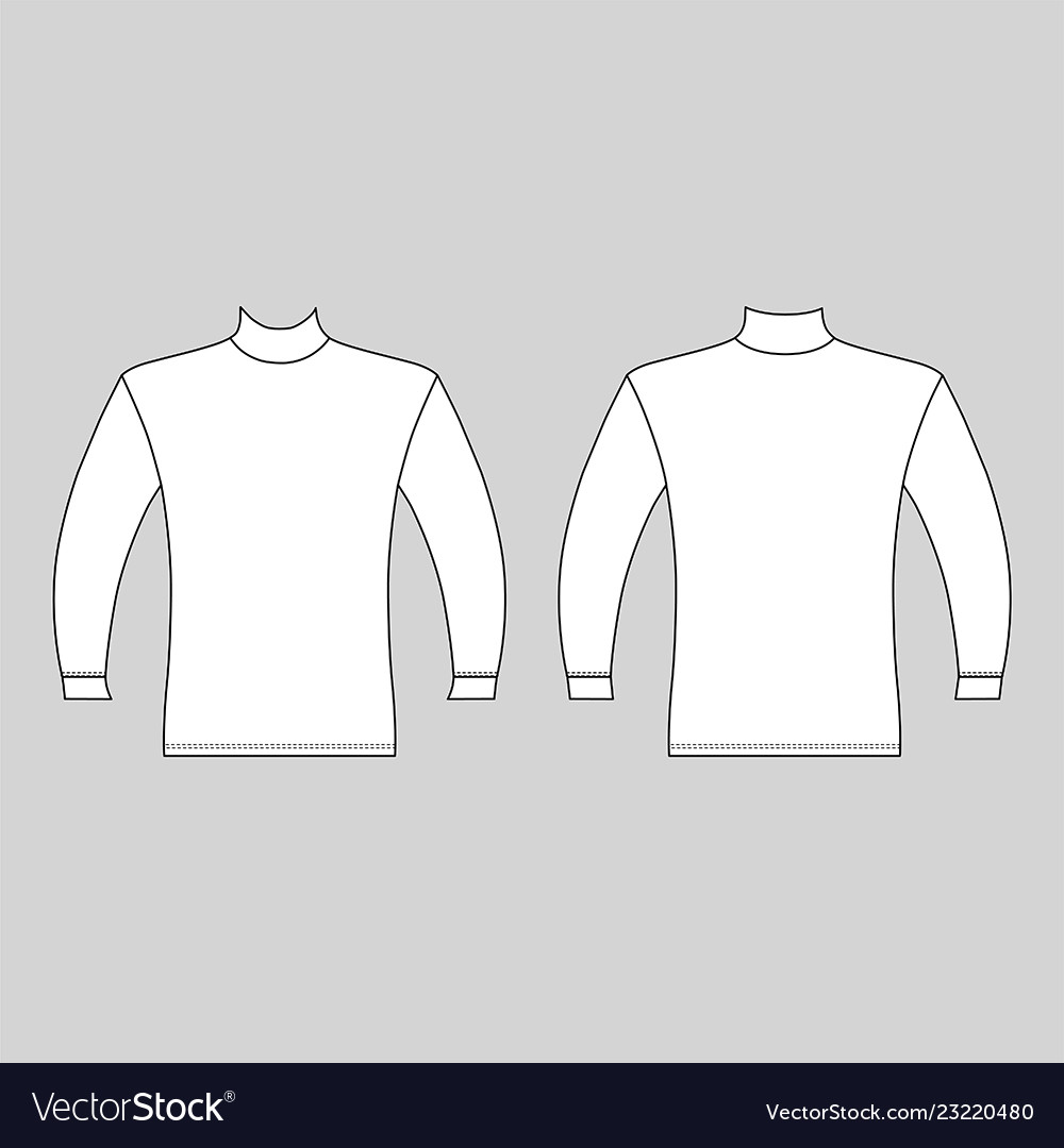 Long Sleeve High Collar T Shirt Outlined Template Vector Image