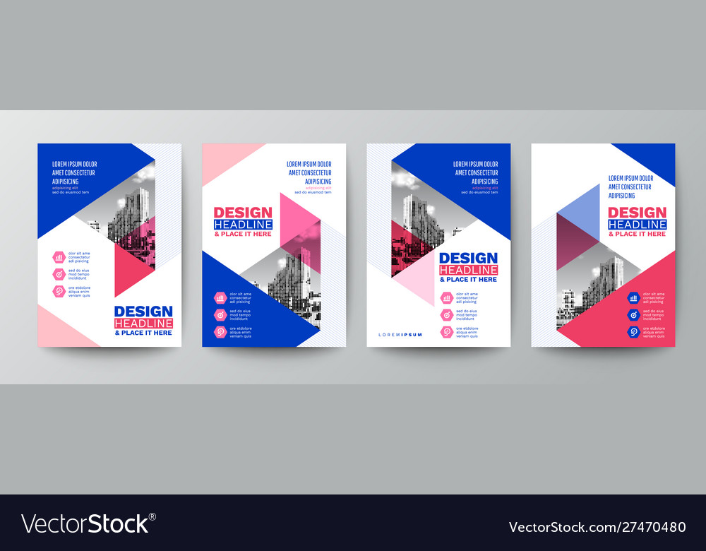Modern blue and pink design template for poster