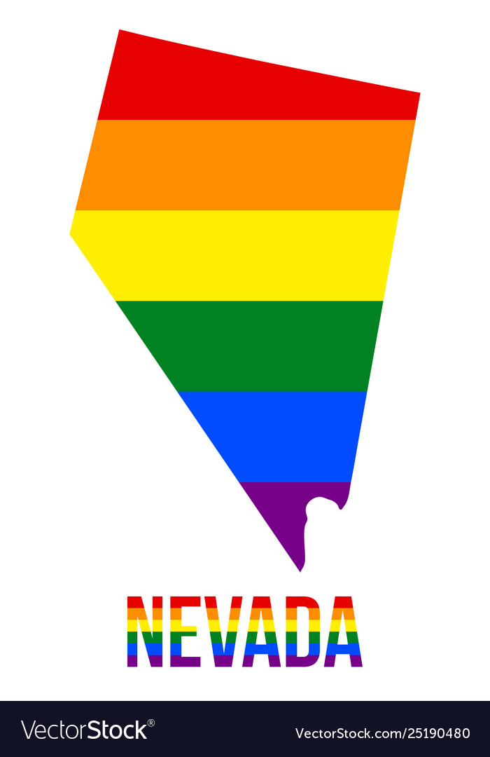 Nevada state map in lgbt rainbow flag comprised