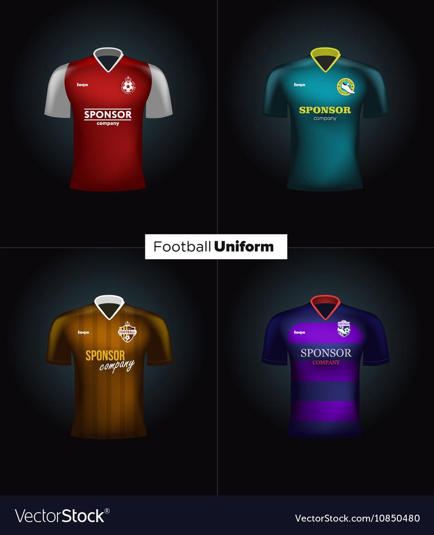Realistic football uniforms Branding Royalty Free Vector 813040672