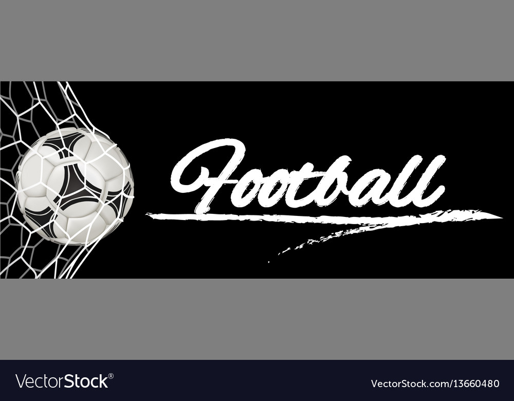 Realistic soccer ball in net isolated on black