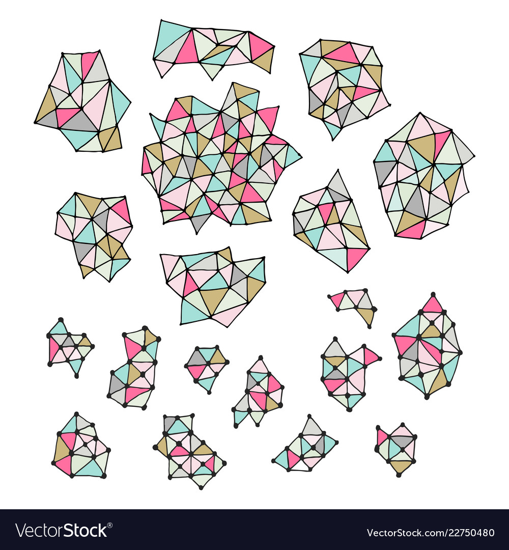 Set of hand drawn polygon triangles pastel