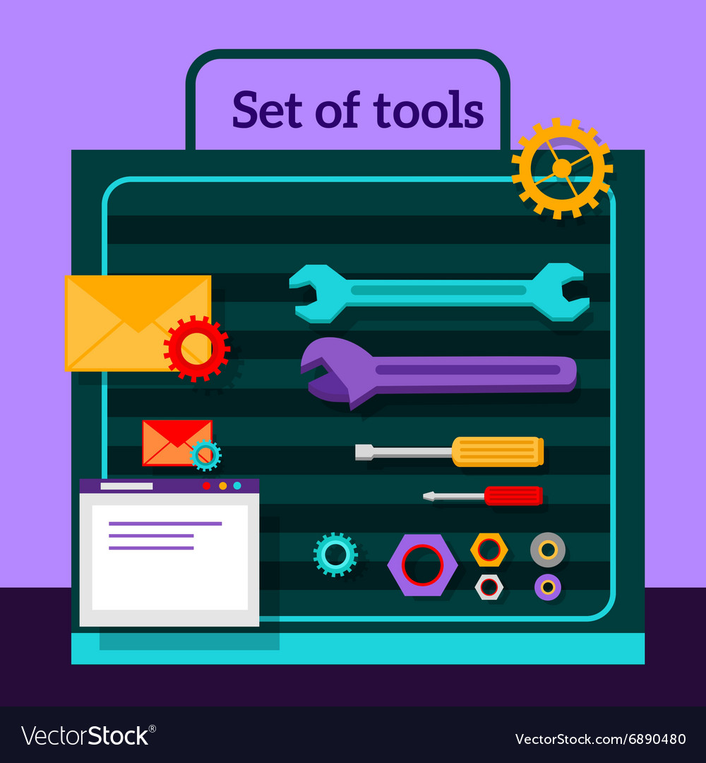 Set of Tools for Seo Flat Design vector image