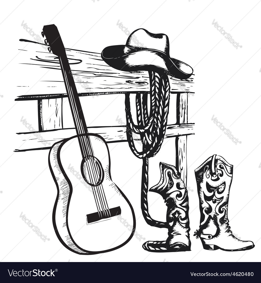 Vintage poster with cowboy clothes and music