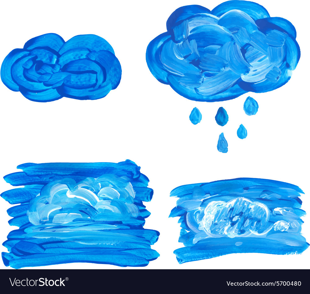 Watercolor cloud with drops