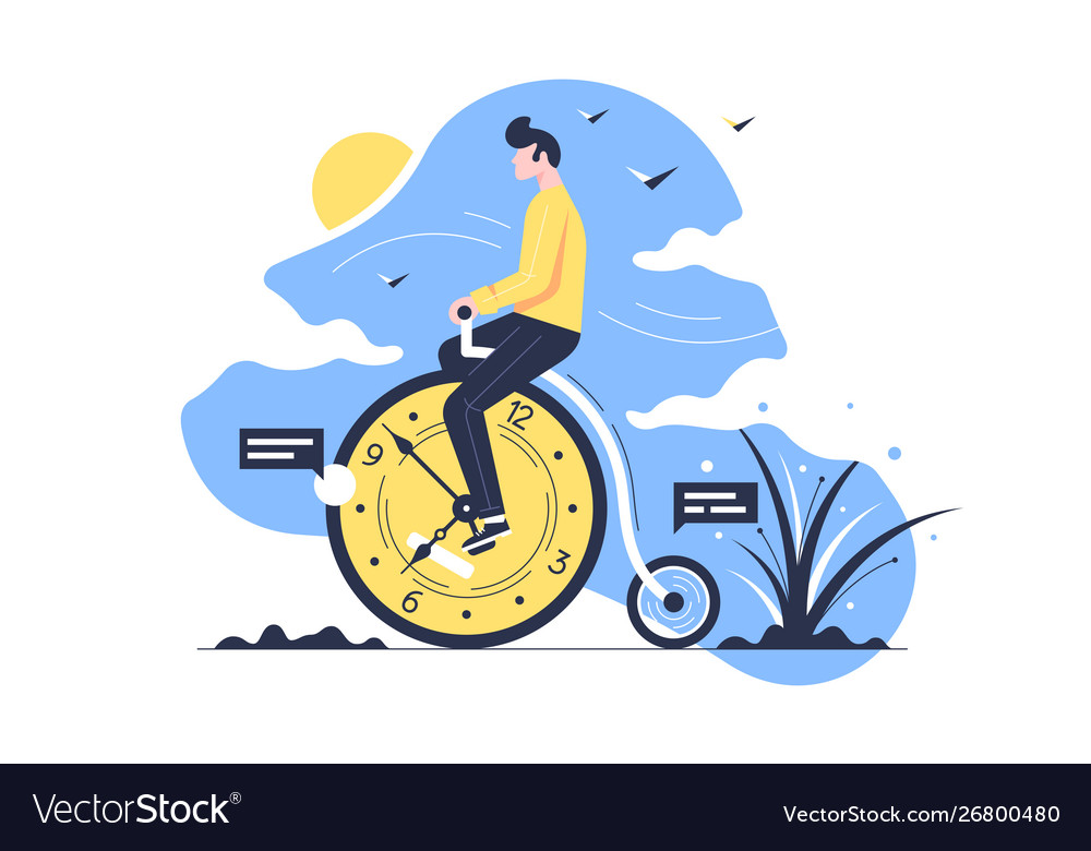 Young handsome man rides time bike on nature