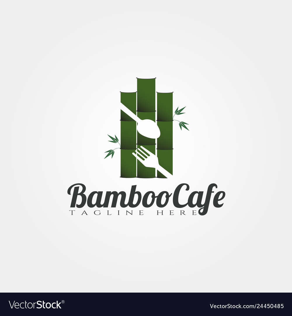 Bamboo Cafe And Restaurant Logo Designfood Icon Vector Image