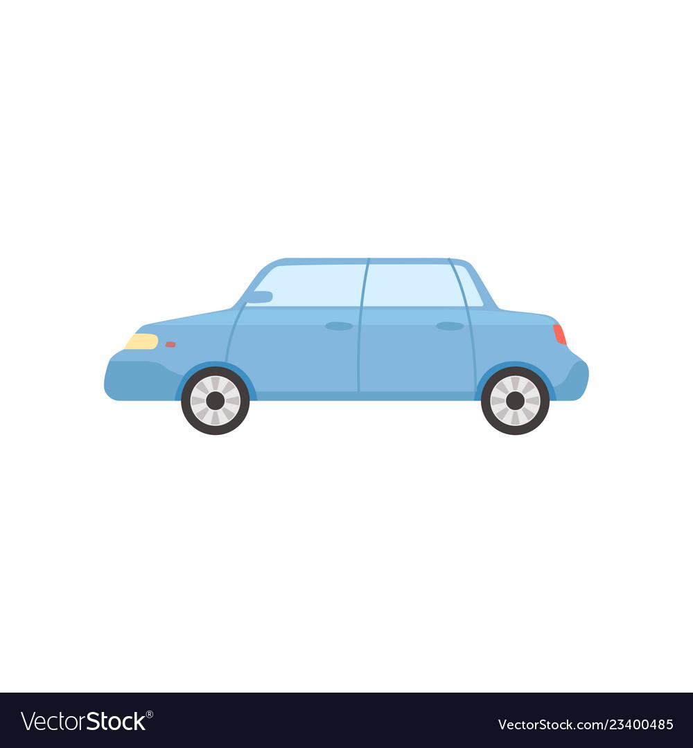 Blue sedan car side view