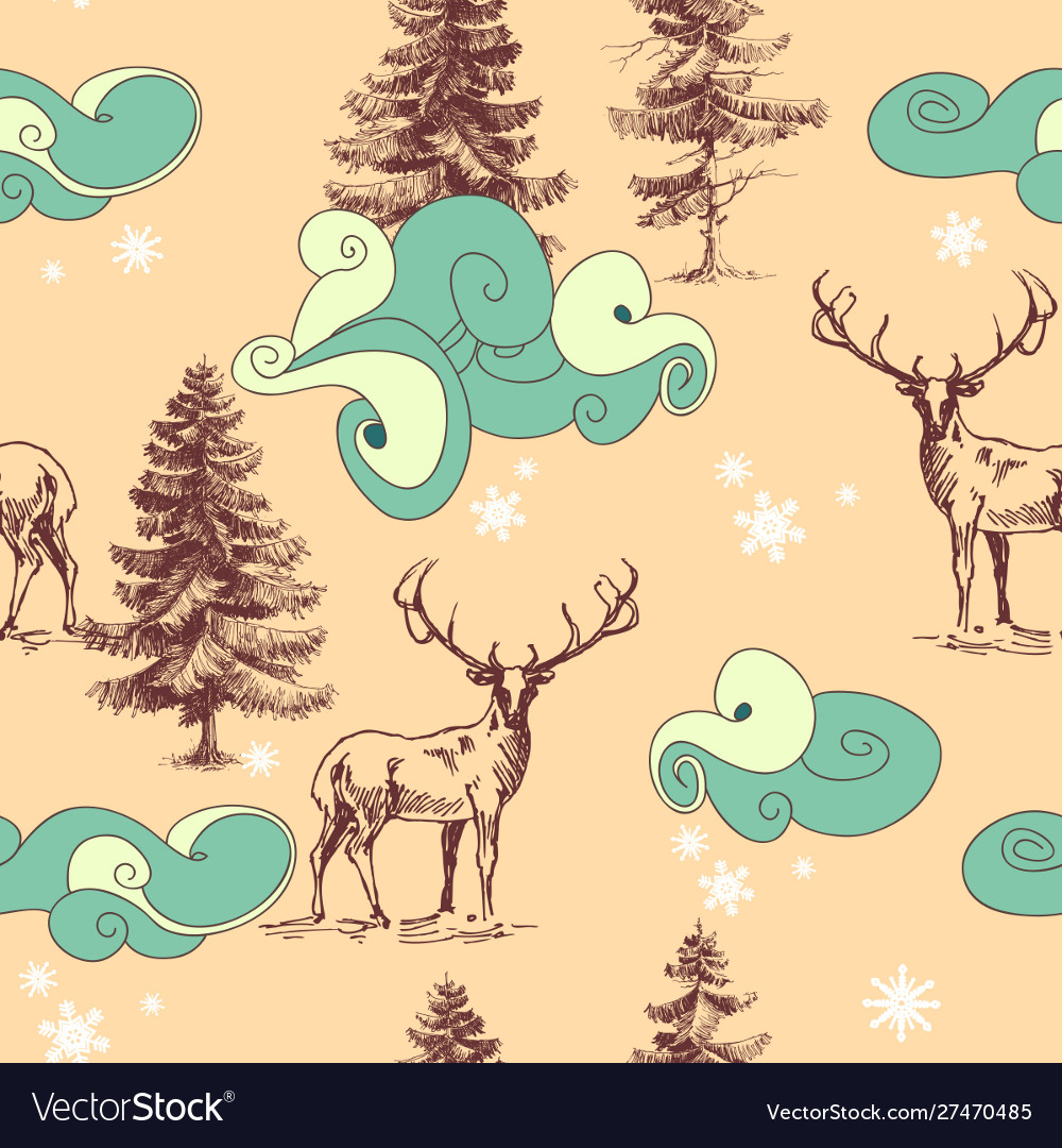 Christmas in forest seamless pattern deers