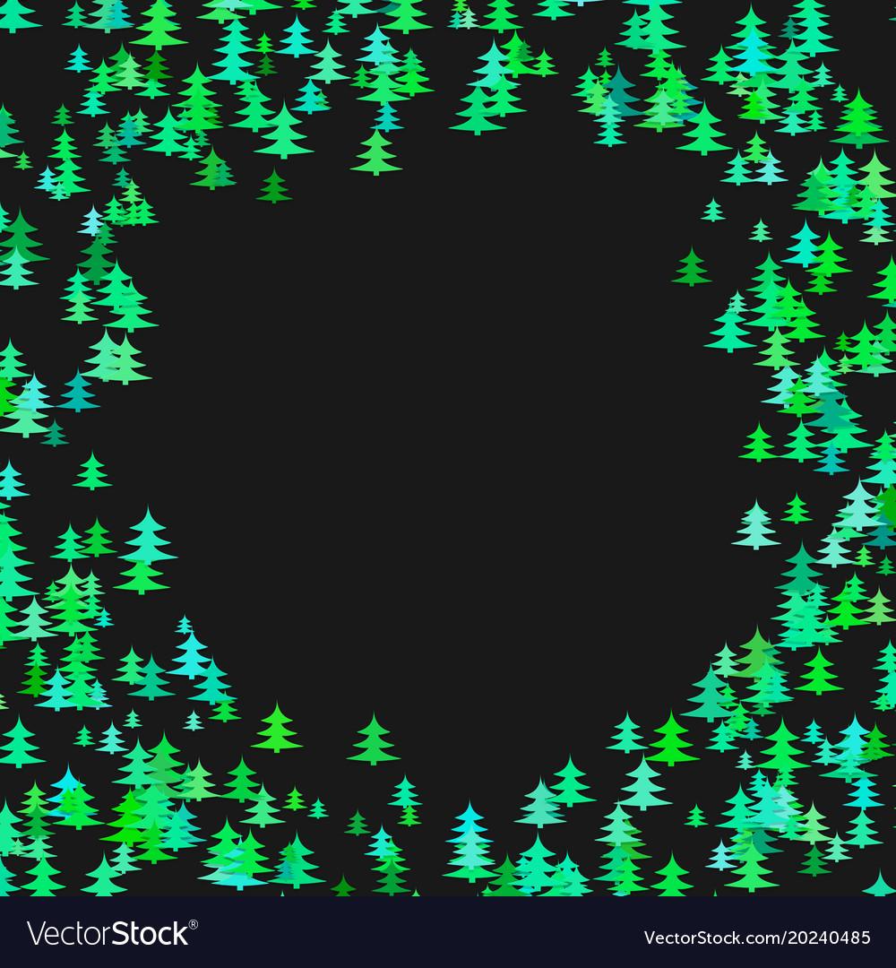 Color pine tree forest round frame design vector image