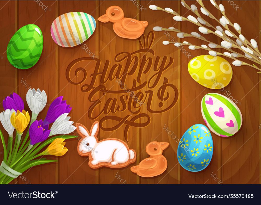 Easter poster with painted eggs flowers
