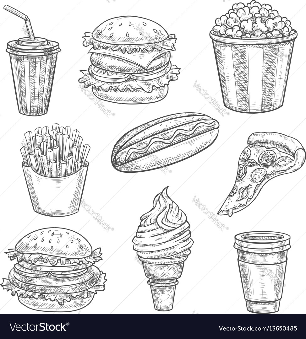 Fast food sketch isolated icons set