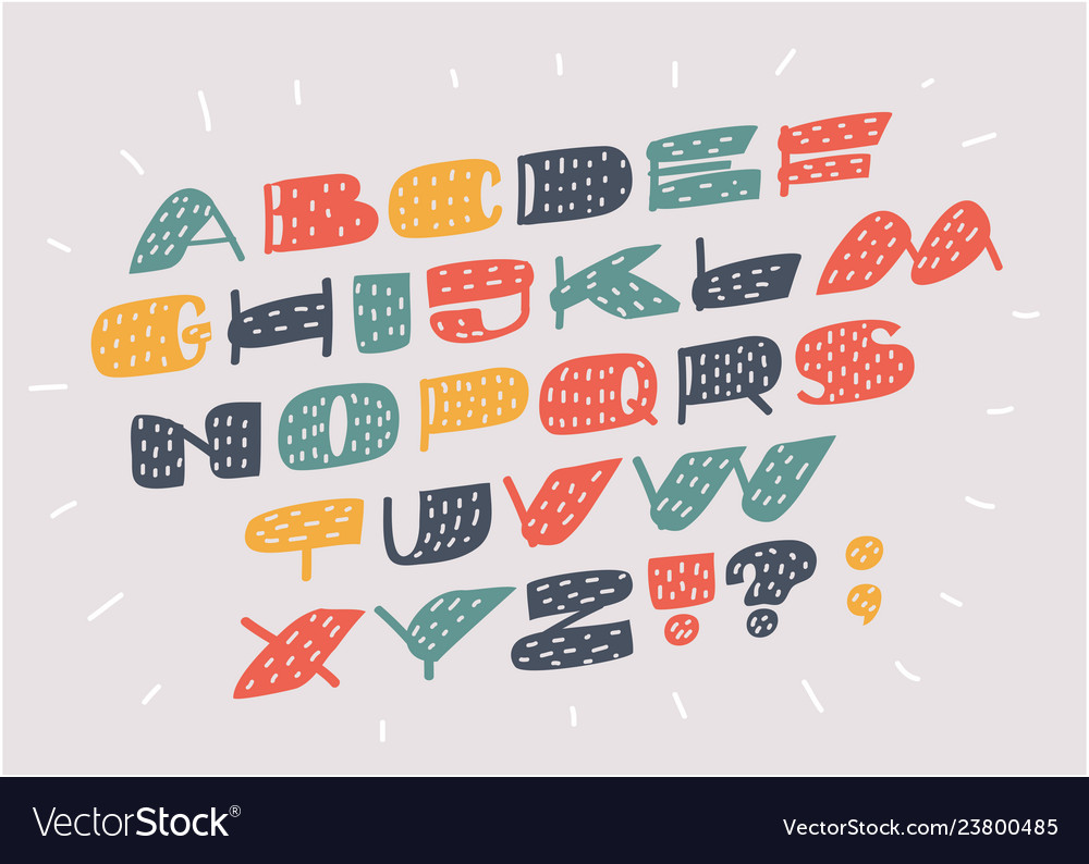 Font and alphabet in different colors