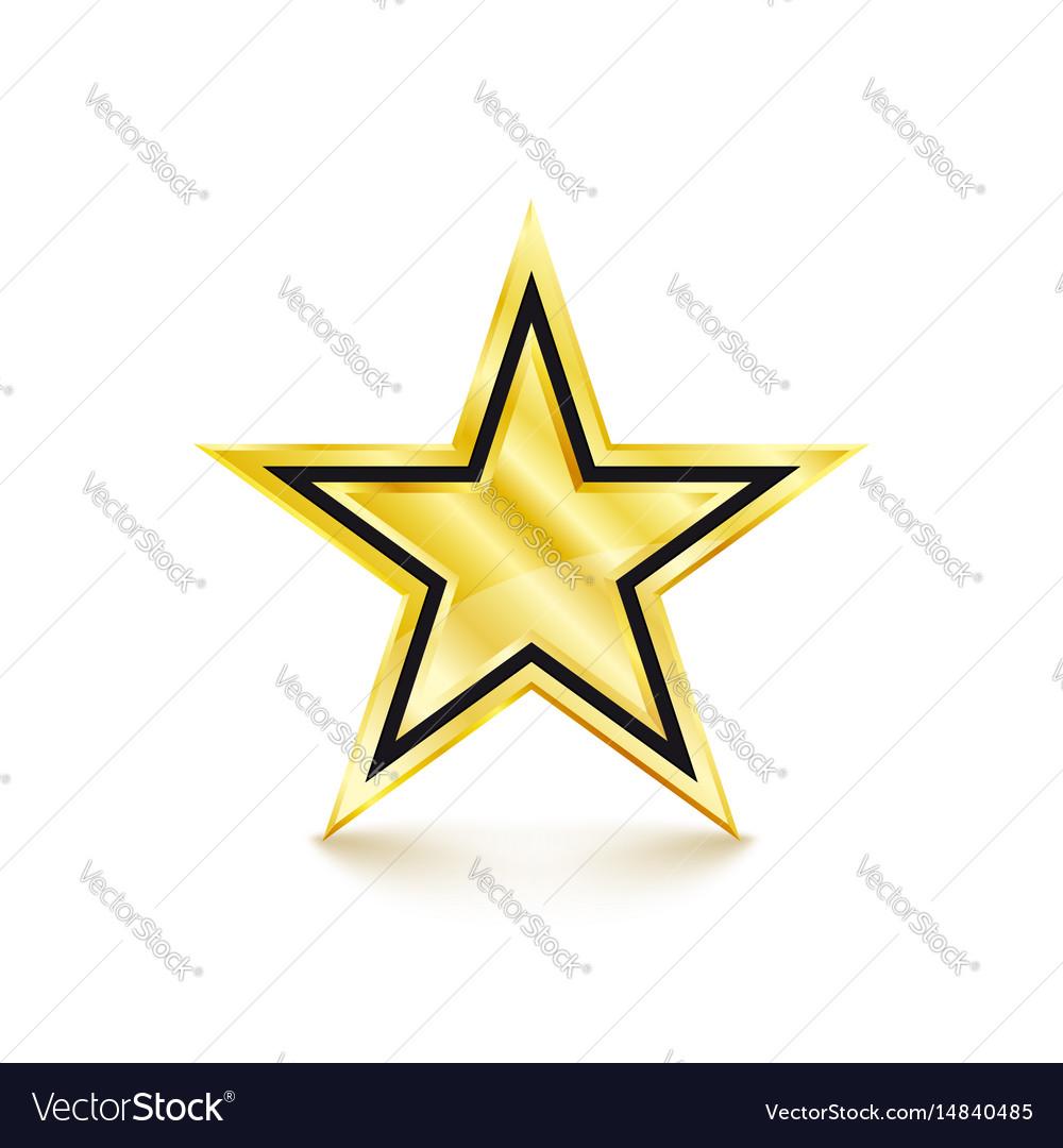 Golden star on white background vector image