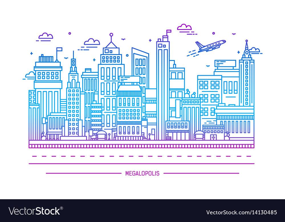 Megalopolis big city life contour line art vector image