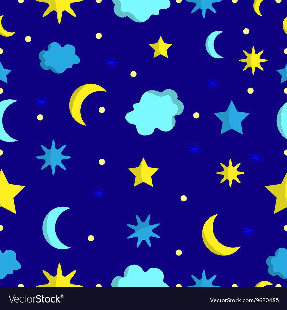 Night sky seamless pattern in