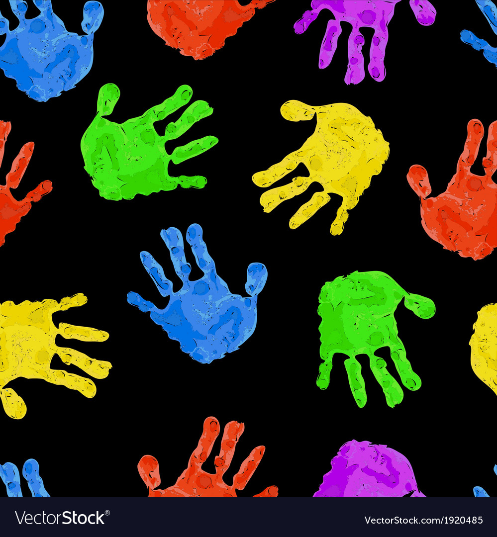 Seamless dark background with bright colored handp