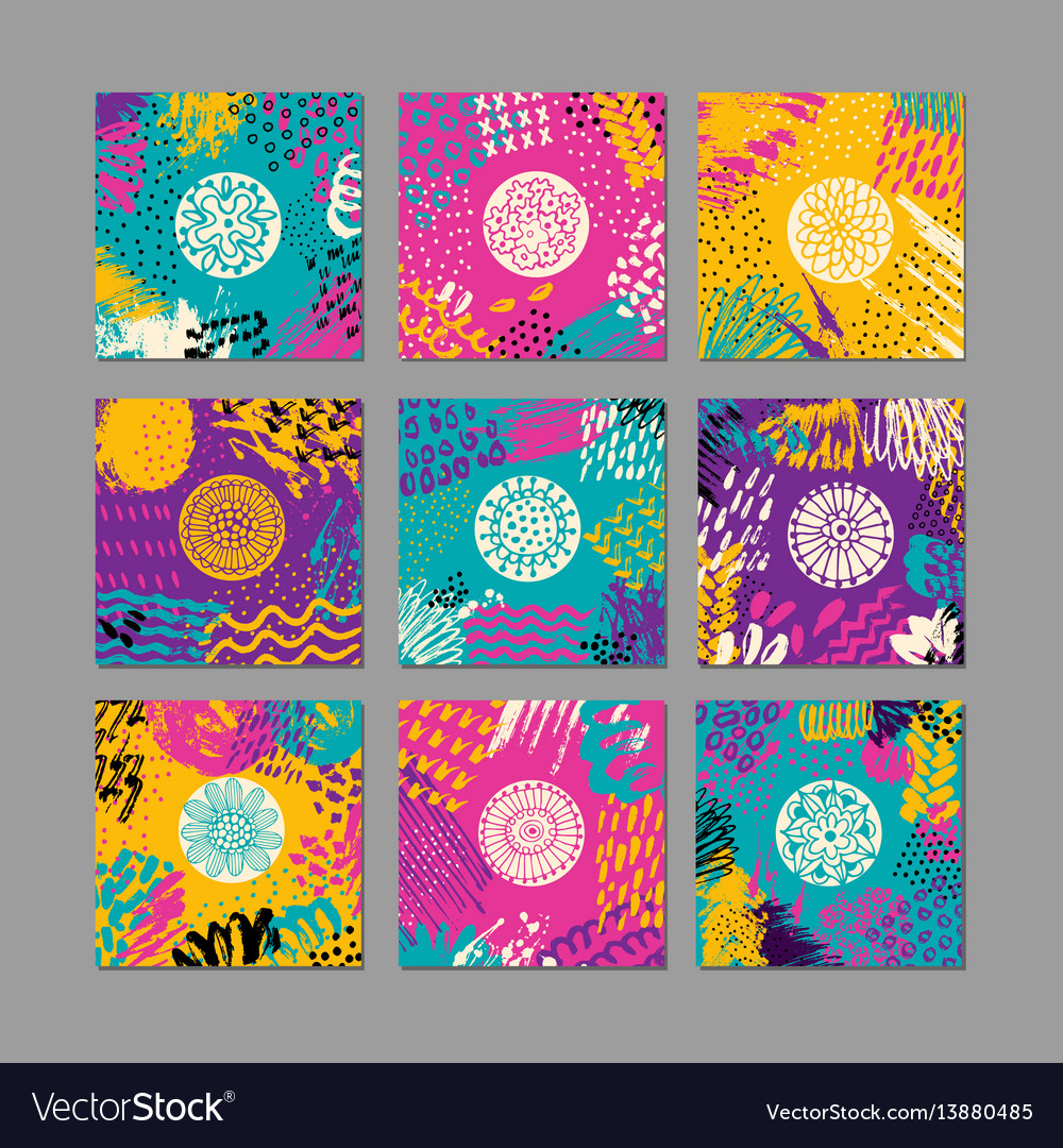 Set of creative card template and flyers vector image