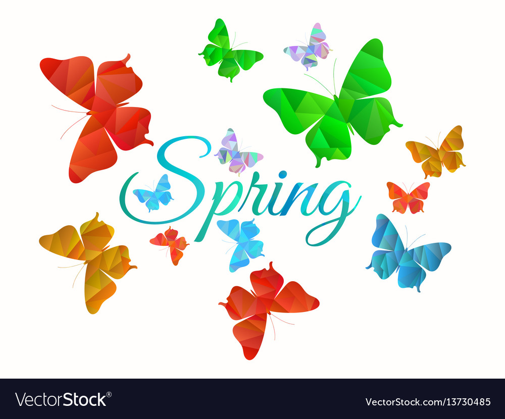 Spring background with butterflies machaons vector image