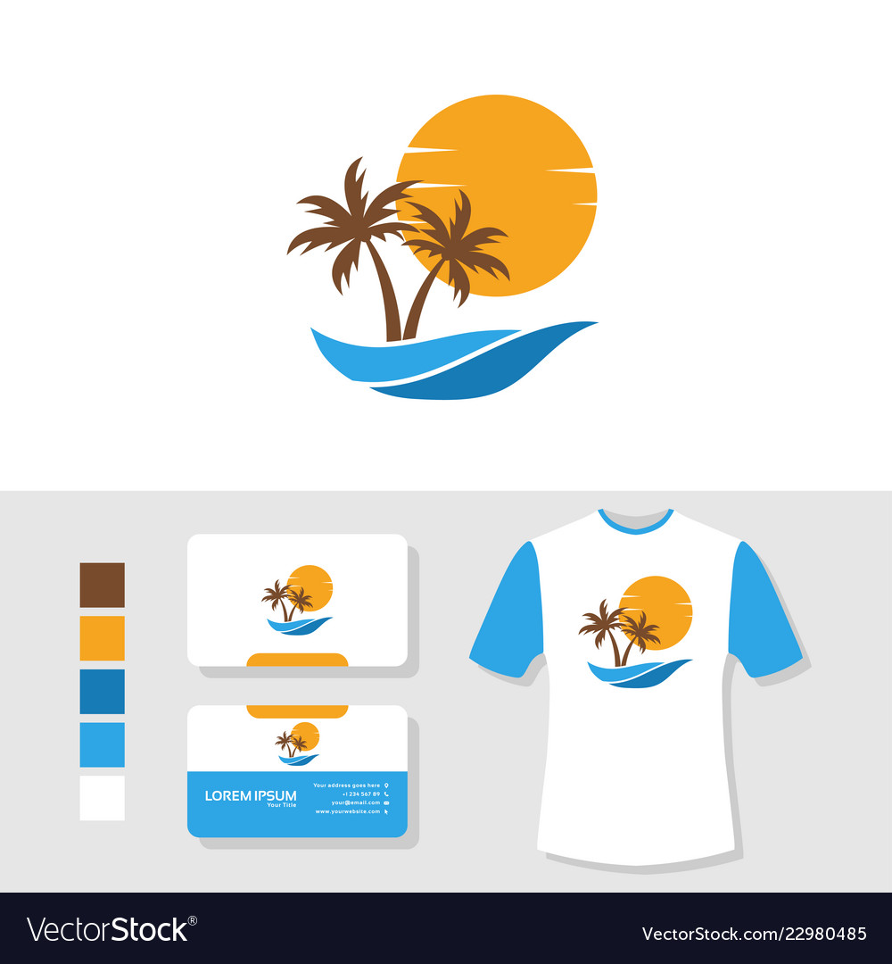 Summer palm tree logo design with business card