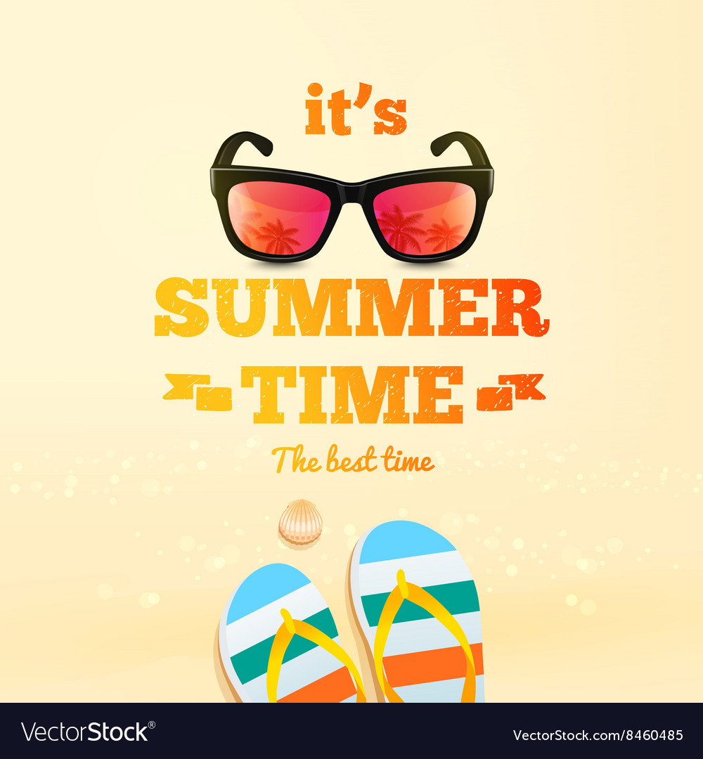 Summer poster Its Summer Time typographic