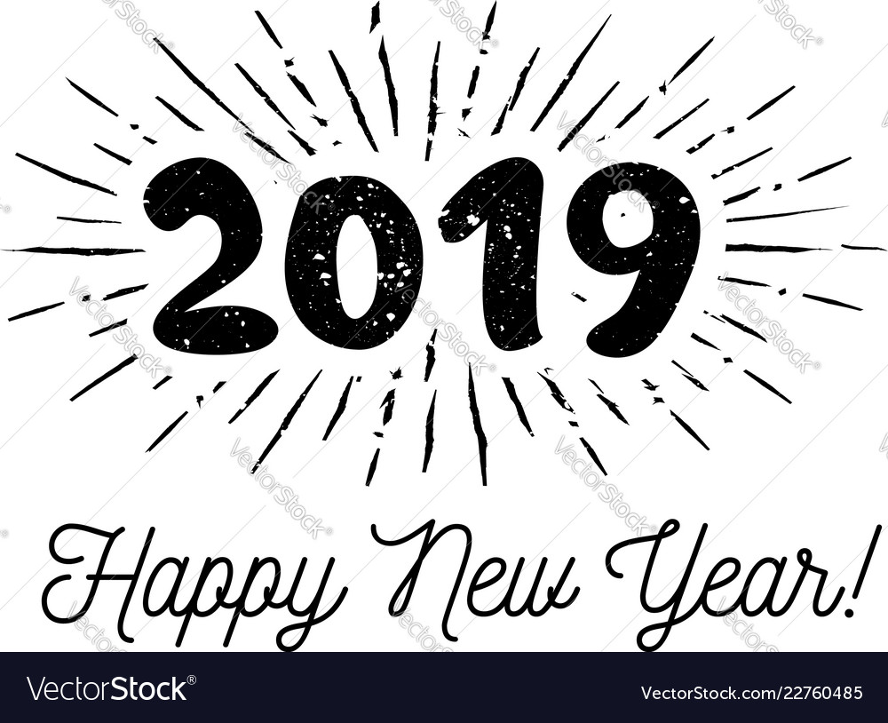 Sunbursts 2019 congratulation with happy new year