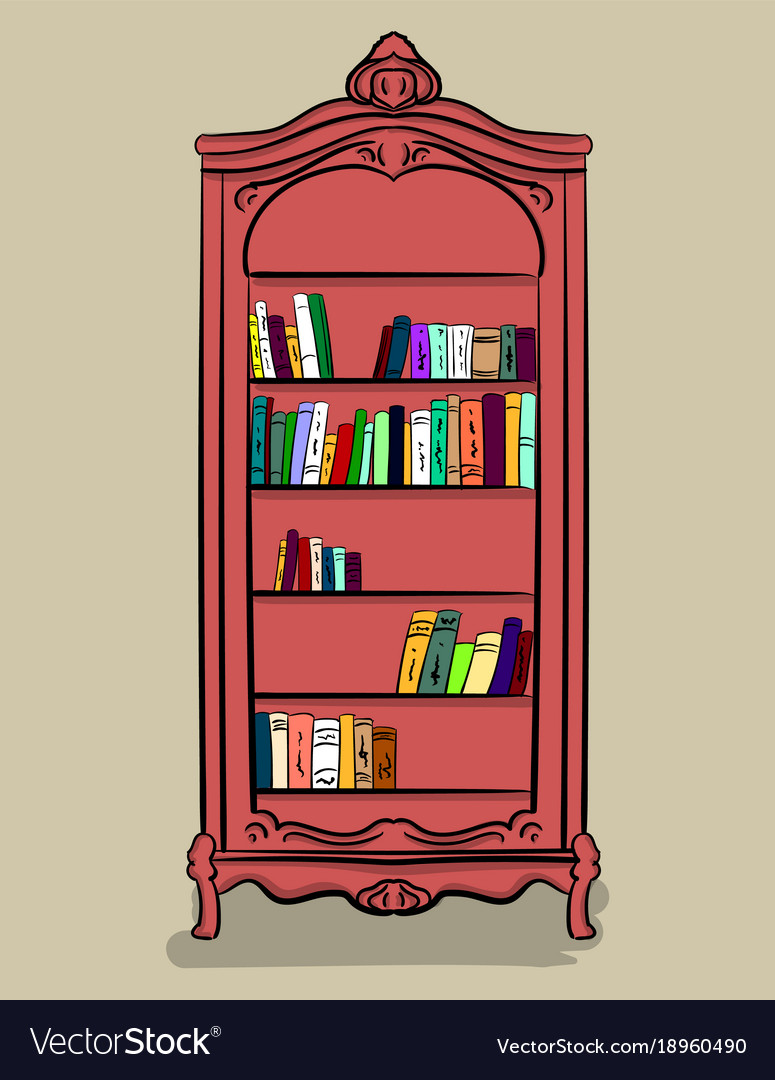 A large high cupboard of pink color with different