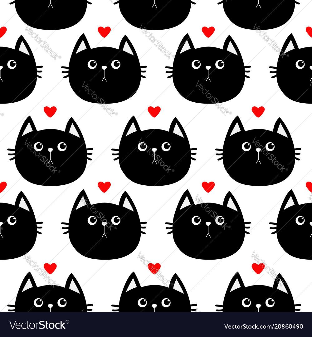 Black cat head with little red heart cute cartoon