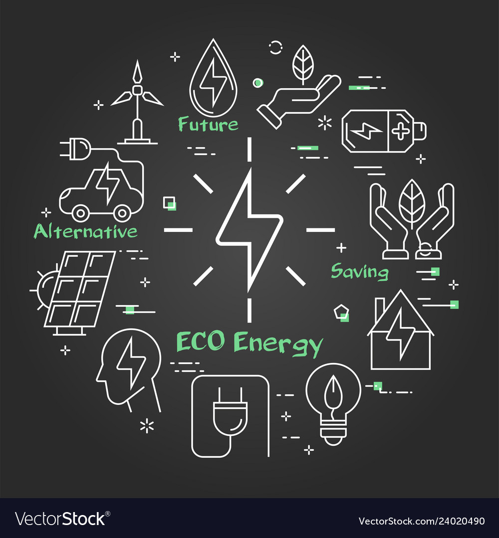 Black linear banner of eco energy sign